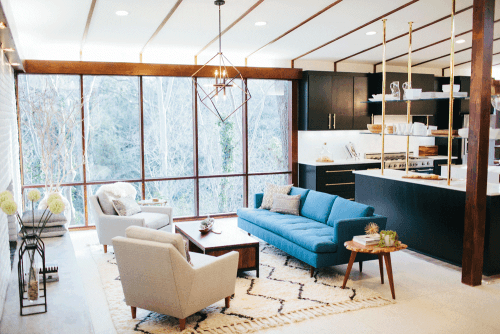 Fixer upper tackles mid century mod pink champagne pearls